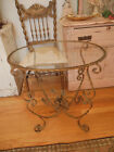 Beautiful Vintage Italian Metal Tole Side Accent Table with Flowers