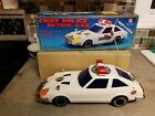 Vinrage 80s Battery Operated Datsun 280Z Chief Police Patrol Car, SON AI Toys