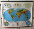 NYSTROM 1SR991 PULL DOWN WORLD/U.S.A SCHOOL MAP! AMERICA US HOME SCHOOL MARKABLE