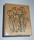 Tulips Rubber Stamp Flowers JRL Design Spring 25 High Wood Mounted