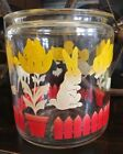 Old Glass Canister Jar Spring Yellow Red White Tulip Bunny Rabbit Duck Vtg