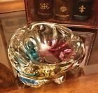 Rare Vintage Murano Sommerso Tri Color Art Glass Cigar Ashtray Candy Bowl