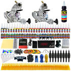 Complete Professional Tattoo Kit Machine Color Inks 10 Coils Power Supply TK220