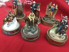 6 Franklin Mint Glass Dome Limited Edition John Wayne Hand Painted Sculptures