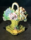 Antique Original Hubley #8 Cast Iron Flower Basket  Doorstop  Floral Shabby Chic