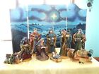 12 GRANDEUR NOEL FABRIC MACHE NATIVITY SET W BACKGROUND
