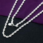 925 Silver Plated Lovely Flash Wrest Rope Chain 4mm Necklace 20 24 inch