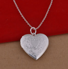 Wholesale 925 Sterling Silver Plated Heart Locket Photo Pendant Necklace 18