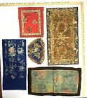 LOT of 5 19th/20th C Chinese Silk Embroidered Panels Forbidden Knot Couched Gold
