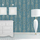 Vintage paper Wallpaper rolls wallcoverings damask blue grey silver textured 3D