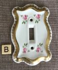 Vintage Ceramic Porcelain Light Switch Cover Gold And Flower Rose Design