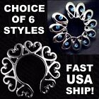 USA CHOICE Heart or Flower Surgical Steel Non Piercing Clip On Fake Nipple Rings