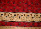 DEBBIE MUMM Fabric Button Flowers DOUBLE Border on Red BTHY