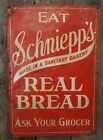 1930's Antique SCHNIEPPS BREAD Old EMBOSSED TIN Country Store ADVERTISING SIGN