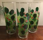 Set of 3 FEDERAL GLASS marked Tall Cooler Glasses in Apple Orchard Design/Conrad
