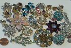 BIG Lot Vintage Rhinestone Jewelry Junk Craft HARVEST FOR STONES Parts 20+ Pcs