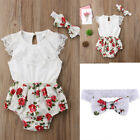 US Newborn Baby Girl Romper Jumpsuit Bodysuit Infant Headband Clothes Outfit Set