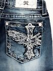 NEW MISS ME Women Vintage Angel Wing Cross Beach Summer Denim shorts Jeans