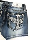 Miss Me Women Vintage Shorts Jeans Angel Wing Cross K830 Summer Beach Denim