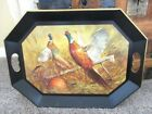 Hunting Lodge Cabin Rustic Decor Vintage Serving Tole Tray w/ Autumn Pheasants