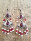 Silver coral Carnelian and pearl EARRNGS from Uzbekistan E102