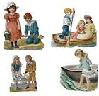 Victorian Antique Original Diecuts of Children Playing by the Seashore 1880 90s