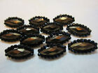 SET OF 12 VICTORIAN GOLD LUSTER GLASS IN METAL BUTTONS/ RIVETED GLASS BEAD RIM