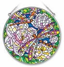 Mosaic Dragonfly Sun Catcher AMIA Hand Painted Glass 65 New Round Magnolia