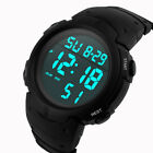 Fashion Men Boys Sport LCD Digital Stopwatch Date Rubber Wrist Watch