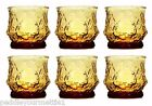 6 Vintage Anchor Hocking Amber Rain Flower Old Fashioned Juice Glasses 9 oz MINT