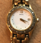 Vintage Seiko Ladies Watch 7N89-0449 Untested Quartz Gold Silver Diamond Bezel