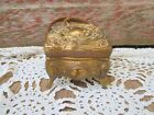 Art Nouveau JEWELRY Footed Casket Box Rocco GOLD Gilt Repousse Brassy Aged