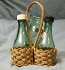 Vintage Glass Bottle Salt and Pepper Shakers Oil Pitcher in Basket Made in Italy