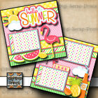 HELLO SUMMER 2 premade scrapbook pages paper piecing layout printed BY DIGISCRAP