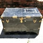 Vintage Metal Wooden Flattop Steamer Trunk Coffee Table Antique Luggage
