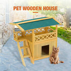Pet House Cat Room Puppy Dog Kennel Outdoor Indoor Shelter with Roof Wooden