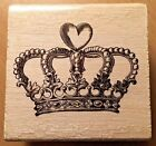 Crafting Mounted Rubber Stamp Heart Crown Design