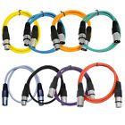 Seismic Audio 8 Pack of Colored 2 Foot XLR Patch Cables 2 Mic Patch Cords