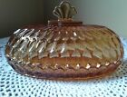 Amber Glass Coverd Scalloped Edge  OVAL Butter Dish