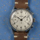 LEMANIA 1940's 15TL OFFICERS WATCH SILVER 2 REGISTER 37MM MANUAL WINDING CHRONO