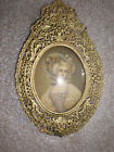 Vintage Gold Ornate Oval Woman Lady Picture Frame Convex Glass Victorian Woman