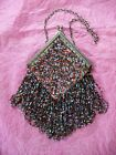 Antique Vintage Multi-colored Diamond Shaped Beaded Purse Kiss-lock Clasp 1920s
