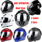 Motorcycle Dual Visor Flip up Modular Full Face Helmet DOT Approved 5 Colors NEW
