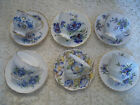 Lot #4:  6 Vintage Tea Cups w/ Saucers English Bone China Florals Gold Trim