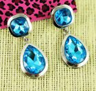 Betsey Johnson white gold plated Blue drop Crystal Rhinestone Cactus earrings