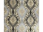 Vintage paper Wallpaper wall coverings damask gray black gold metallic textured