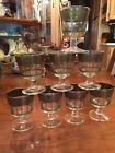 Vintage Mid Century Modern Cera Footed Glasses,Grapes, (8), barware