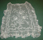 Antique Tambour Lace Apron, Embroidered on Net, Raised Flowers