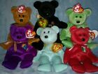 Lot 6 Ty Beanie Babies, Tags, Fuzz Kicks The End Osito Millenium Ariel P.E. C E