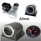 2 52mm Carbon Fiber Cover Car Digital White  Red PSI Turbo Boost Gauge Meter